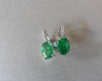 1.60ct / 0.06ct emerald and diamond earrings