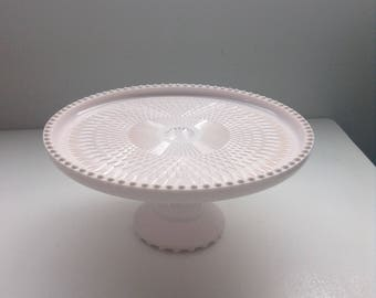 Pink Milk Glass Round Cake Stand by Jeanette