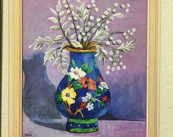 Vintage Original Art, Flowers in Blue Vase, Signed Doris