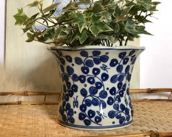 Small Ceramic Blue and White Vintage Planter