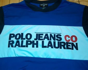 Vintage Polo Jeans CO Ralph Lauren Blue White Black Red T-shirt Mens large