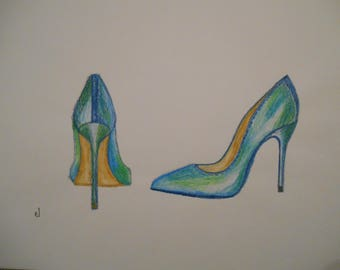 Blue and green high heel shoes