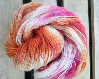 Poppies Handdyed yarn pure wool rustic - Fingering laine teinte knitting tricot