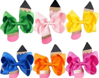 Back to school bows - girl bow, pencil bow, bow for babies, custome girl bow