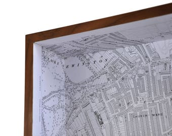 Stoke Newington map box / framed map - wall decor wall art gift shelf keys holder