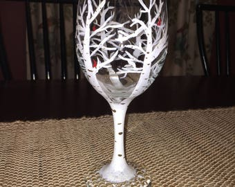 Hand Painted Winter Wineglass