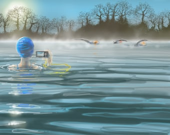 greetings card: winter swimming, 'Last Swim of 2016', outdoor swimming, triathlon, Vobster. Drawing by Nancy Farmer