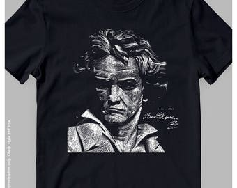 Beethoven Illustration Unisex T-Shirt | Great Composer Tees | Music Gift Idea