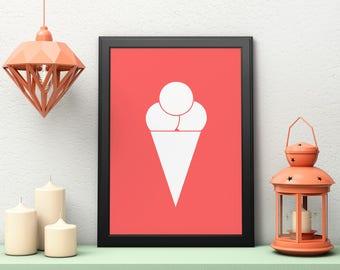 Ice Cream Wall Art, Printable Art, Ice Cream Nursery, Ice Cream Print, Minimalist Print, Digital Download, Minimalist Art, Nursery Decor