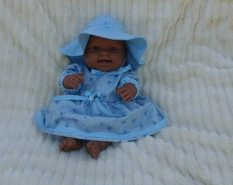 Blue roses dress, hat, and panties for 14 inch baby doll