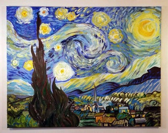 Starry Night Oil Painting by Vincent VAN GOGH 22×28 Reproduction, Unique Gift, Wedding Gift