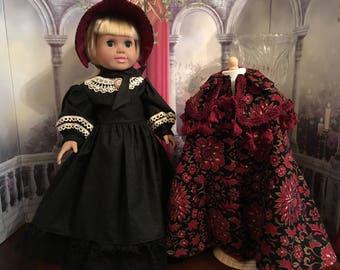 """Victorian Winter Cape, Caplet, Bonnet and Dress for 18"""" American Girl Doll"""