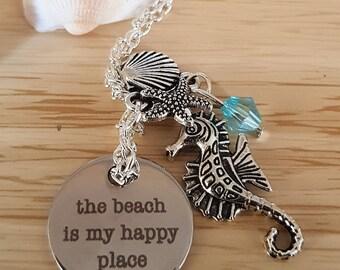 "Beach necklace ""my happy place"" shell starfish mermaid"
