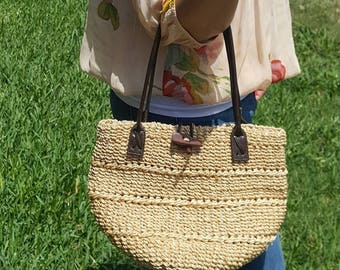 80's Hand woven and faux leather handbag