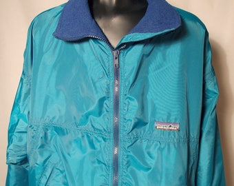 90s Patagonia Teal Soft Shell Puffy Coat Sz Large Blue Fleece Lining Windbreaker Zip Up Streetwear Hiking Turquoise Blue Green Jacket Bright