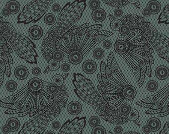 "Tula Pink Fabric. Nightshade. Raven Lace. Vapor Teal. RARE & OOP.  (9"" x 19"")."