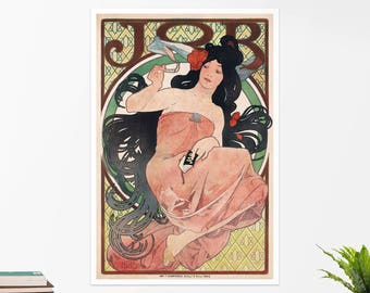 "Alfons Mucha, ""The Job"". Art poster, art print, rolled canvas, art canvas, wall art, wall decor"