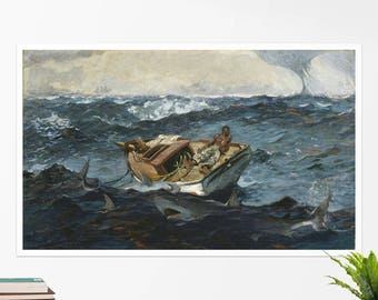 """Winslow Homer, """"The Gulf Stream"""". Art poster, art print, rolled canvas, art canvas, wall art, wall decor"""