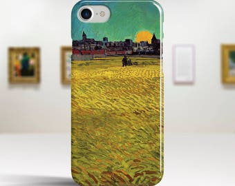 "Vincent Van Gogh, ""Wheat Field at Sunset"". iPhone 8 Case Art iPhone 7 Case iPhone 6 Plus Case and more. iPhone 8 TOUGH cases."