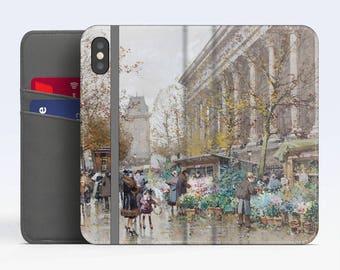 """Eugène Galien-Laloue, """"Flower Market"""". iPhone X Wallet case iPhone 8 Wallet case  iPhone 7 Plus Wallet case. Samsung Wallet cases."""