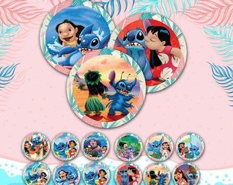 Lilo and Stitch Cupcake Toppers, Lilo and Stitch Party Supplies, Lilo and Stitch Cake Topper, Lilo and Stitch Birthday Party | LILO_FULL