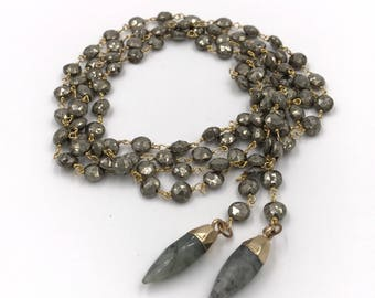 Long pyrite and labradorite gold choker wrap