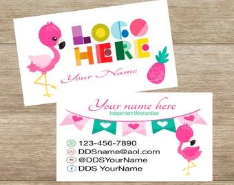 Business Card, flamingos, Printable, Customized, Personalized Card, Digital, DotDotSmile, modern Business Card, Custom Card, Retailer Card