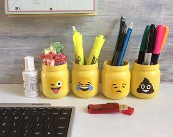 Dorm Decor, Pencil holder, Pencil cup, mini planter, emoji planter, desk organizer, gift idea student, candy jar, mason jar, Pen cup