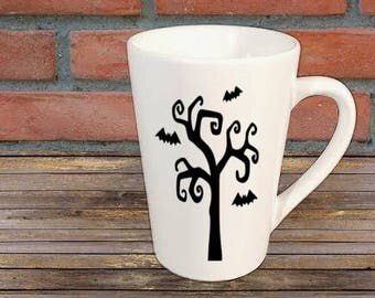 Bat Spooky Tree Mug Coffee Cup Halloween Gift Home Decor Kitchen Bar Gift for Her Him Any Color Personalized Custom Merch Massacre