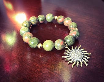 Beaded Bracelets /Unakite/Gift for her/genstone/Christmas Gifts/CharmBracelets