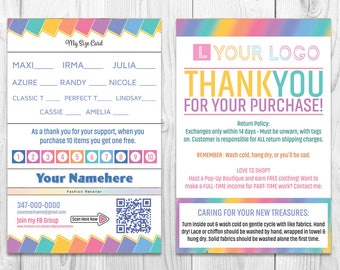 LLR Flyer - LuLa Care Card - LuLa Punch Card - LuLa Thank you Card - LuLa Size Card - Quick Turnaround - Overnight Shipping