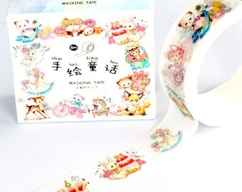Cute Kawaii Washi Tape | Cute Animal Washi Tape | Kawaii Masking Tape