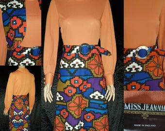 1960s Maxi Dress, Vintage Maxi Dress, 60s Maxi Dress, 1960s Dress with Bolero, 1960s Carnaby Street, Vintage 1960s Dress, 60s Dress