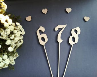 Wood table numbers rustic Wedding Table decoration