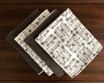 White and Grey Arrow Burp Cloths, Terry Cloth Backs, Set of 2 or 4
