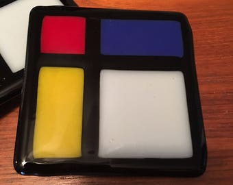 Fused Glass Coasters Red Yellow Blue Black White Colorful Handmade Fused Glass
