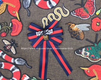 Fashion Trend Bow Tie Navy Blue Red Ribbon Beading Applique Decorative Bowknot Queen Bee Sparkling Rhinestone Beaded Pattern Bowtie #S2