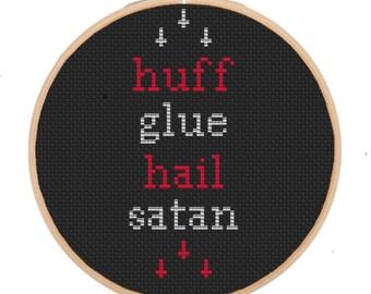 Huff Glue, Hail Satan Cross Stitch Pattern Funny Snuff Glue Crude Humor Wall Art Hanging Decor Hoop Upside Down Cross Gift For A Friend