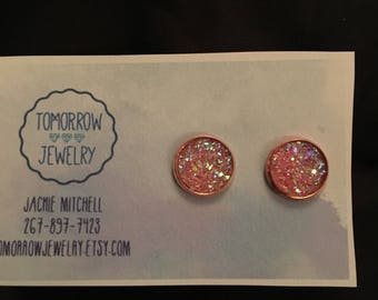 Katie 12mm Sparkly Pink Flat Druzy Rose Gold Setting