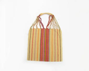 Loom Tote handbag - beige with stripes - Mexican Bag