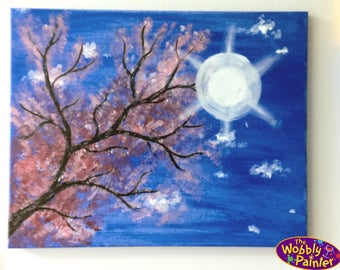 "Acrylic Painting ""Blossoming Branch"" 16x20 colorful art paint on canvas spring tree unframed"