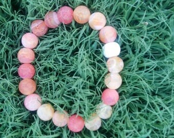 Orange Delight White Lava Bead Bracelet