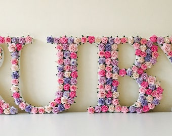 custom made individual floral and flower letters - full name // christening gift // baby shower gift // nursery decor // wedding gift