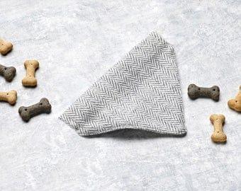 Grey Herringbone Tweed Dog Neckerchief