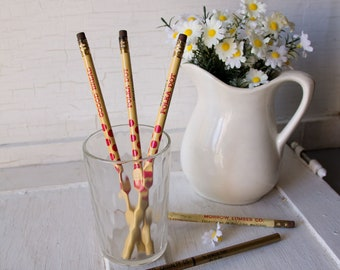 Vintage Polka Dot Bread Advertising Pencils + Insurance and Construction Pencils