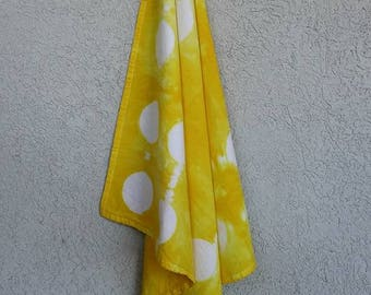 Shibori Tie-Dyed Cotton Flour Sack Towel Yellow