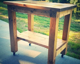 Wooden Kitchen Island   Cart Or Staionary   Rustic   HGTV Fixer Upper   Low  Shipping