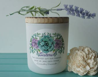 Scented Soy Candle/'SISTERS.'/Lavender/Handpoured