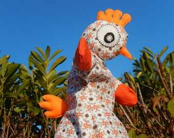 Puppet hen in her flowered dress - pattern only
