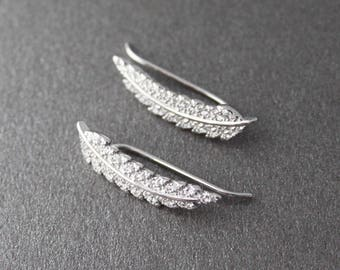 Earrings feather rising ear cuff Silver 925/1000 and zirconium CZ